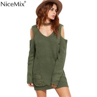 NiceMix 2019 Autumn Knitted Sweater Dress Sexy V neck Off Shoulder Ripped Pullover Knitting Dresses Vestidos Pull Femme