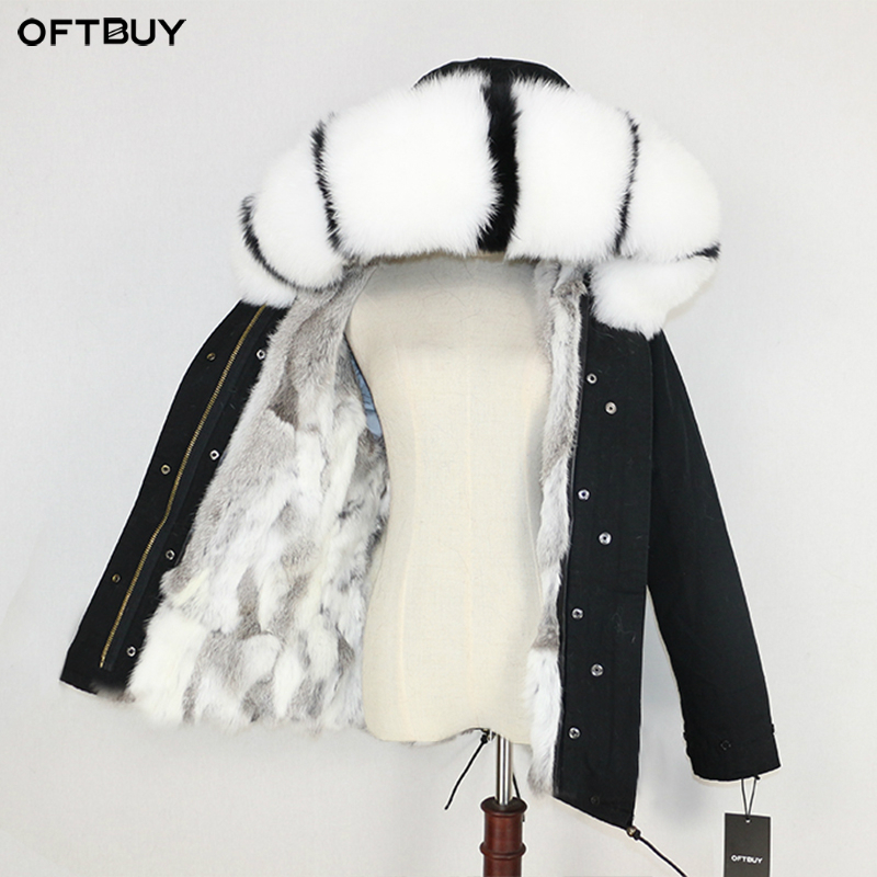 OFTBUY 2019 Winter Jacket Women Real Fur Coat Parka Natural Raccoon Fur Collar Thick Warm Rabbit Fur Liner Streetwear Brand New