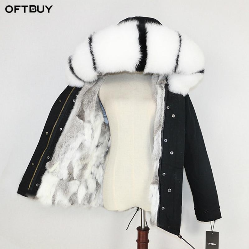 OFTBUY 2019 Winter Jacket Women Real Fur Coat Parka Natural Raccoon Fur Collar Thick Warm Rabbit Fur Liner Streetwear Brand New