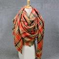 2016 cobertor cachecol Mulheres Inverno Xadrez foulard echarpe pashmina cashmer Lã longo Cachecol Mulheres Xales e Lenços de marca de Luxo