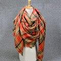 2016 manta Plaid pashmina bufanda Mujer Invierno cashmer foulard echarpe Bufanda larga De las Lanas de Las Mujeres Chales y Bufandas de la marca de Lujo