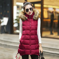 Autumn Winter Women Vest Waistcoat 2016 Womens Long Vest Female Faxu Fur Collar Hooded Sleeveless Jacket Ladies Down Cotton Vest
