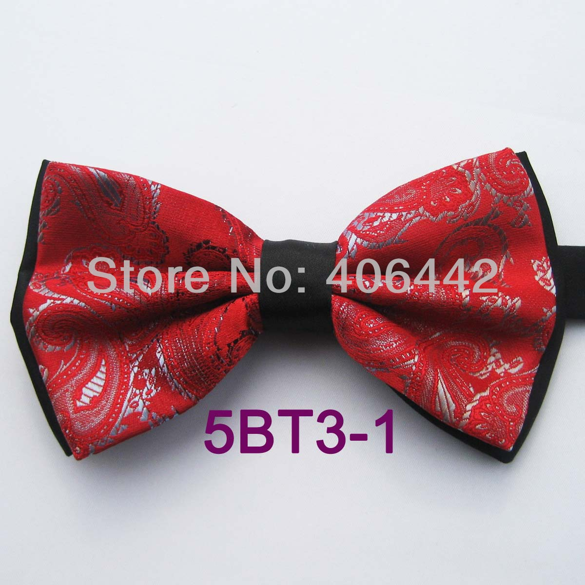YIBEI Coachella Ties Double-deck Black Bottom Red Bow Ties With Gray  Paisley Butterflys Tuxedo Bowtie For Groom Wedding Dresses cba3c3a02ed0