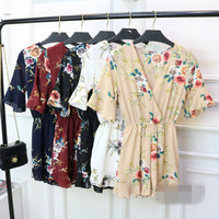 Summer Boho Floral Print Ruffles Playsuits Women Elegant V Neck Jumpsuits Rompers Sexy Beach Girls Short Overalls AD158