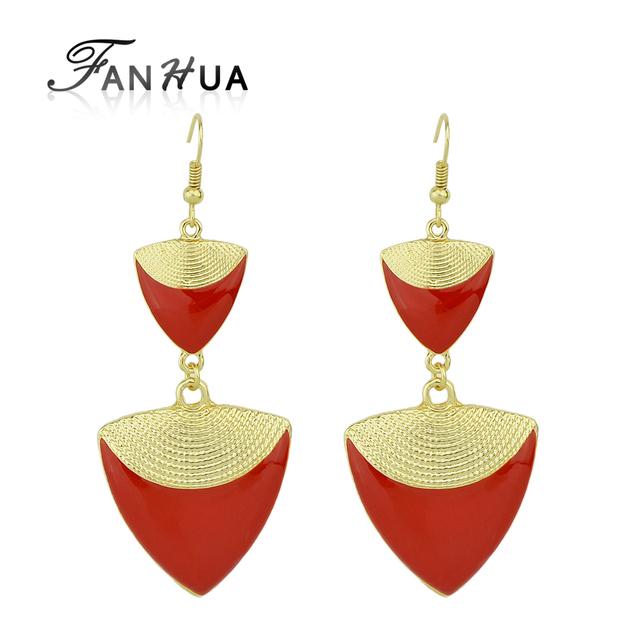 Fanhua brincos bijoux marca vermelho branco preto esmalte brincos triângulo geométricas brincos longa queda para as mulheres do partido maxi brinco