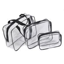 New Portable Clear Travel Cosmetic makeup organizer Bag Transparent Storage Bags functional bag pencil case