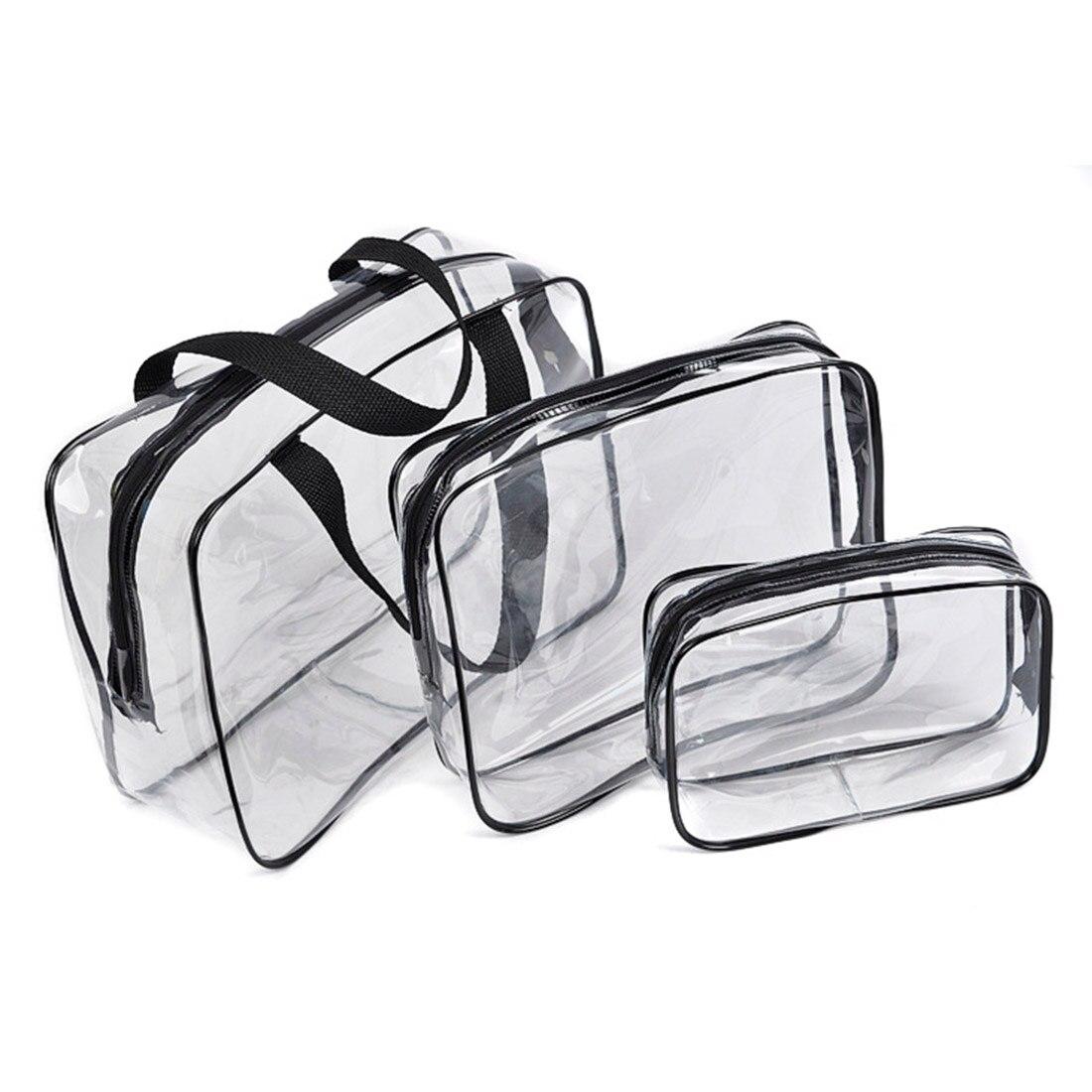 Portable Clear Travel Cosmetic Makeup Organizer Bag Transparent Storage Bags Functional Bag Pencil Case Portable Makeup Bag
