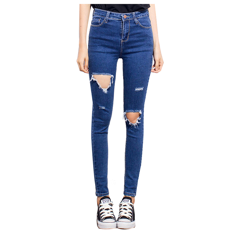 Woman's Fashion Casual Brand Vintage High Waist Skinny Denim Slim Ripped Pencil Jeans Hole Pants Female Sexy Girls Trousers blue