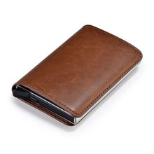 Metal Credit Card Holder Automatic Pop Up Vintage Aluminum Wallet PU Leather Antitheft Rfid Blocking Wallet Pass Port Holder(China)