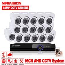 CCTV Camera System AHD DVR 16CH 720P HD 1.0 Megapixels Enhanced IR Security Camera with 24 LEDs 2000TVL Camera Security System
