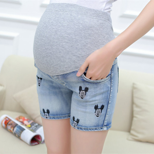 Maternity Denim Shorts For Pregnant Women Gravidas Clothing Pregnant Clothes Elastic Abdominal Embroidery Short Pants 1080