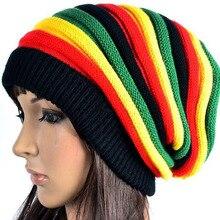 Fashion Bob Marley Jamaican reggae cap Multi-colour Striped Rasta Hat Slouchy Baggie Beanie Skullies Gorro rasta  Women