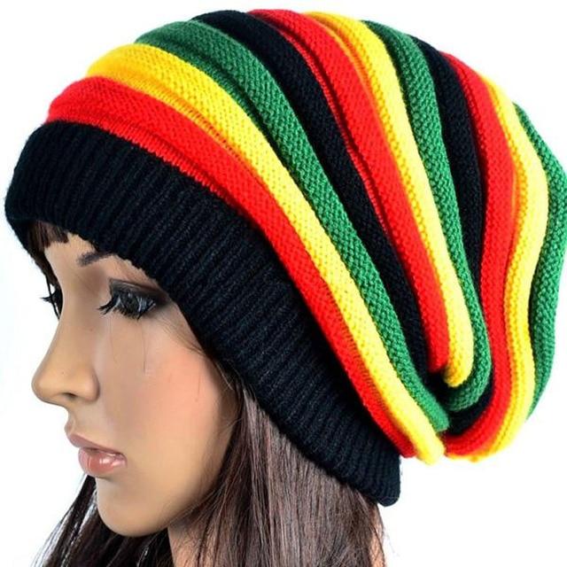Moda Bob Marley reggae Giamaicano cap Multi-colore A Righe Rasta Cappello  Slouchy Baggie Beanie 4f97644a2689