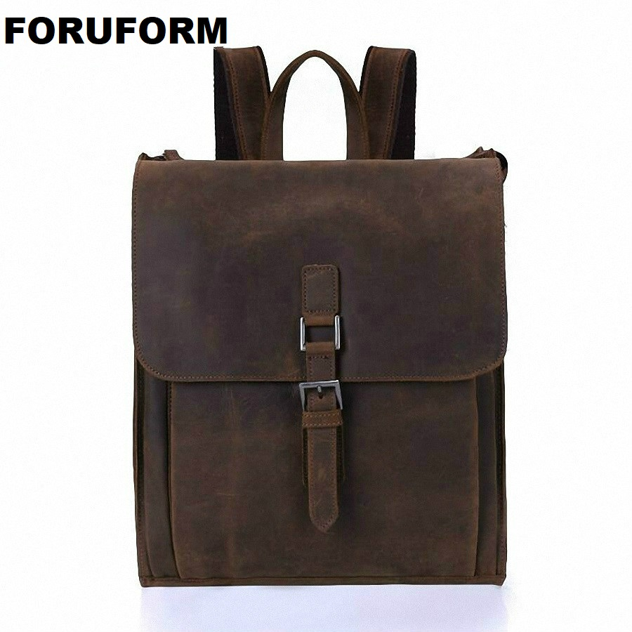 Crazy Horse Cowhide Men Backpack Genuine Leather Vintage Travel Casual School Book Bags Brand Male Laptop Bags LI-1927 hot sale women s backpack the oil wax of cowhide leather backpack women casual gentlewoman small bags genuine leather school bag