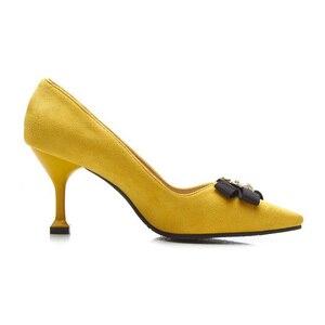Image 4 - BeckyWalk צהוב/שחור Stilleto אביב נשים נעלי הבוהן מחודדת גבירותיי משאבות דבורה Bowknot עקבים גבוהים שמלת נעלי אישה WSH2630