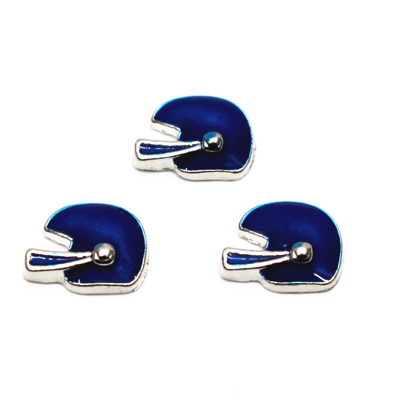 Hot selling 20pcs/lot exercise football helmet silver floating charms jewelry for living glass memory floating lockets