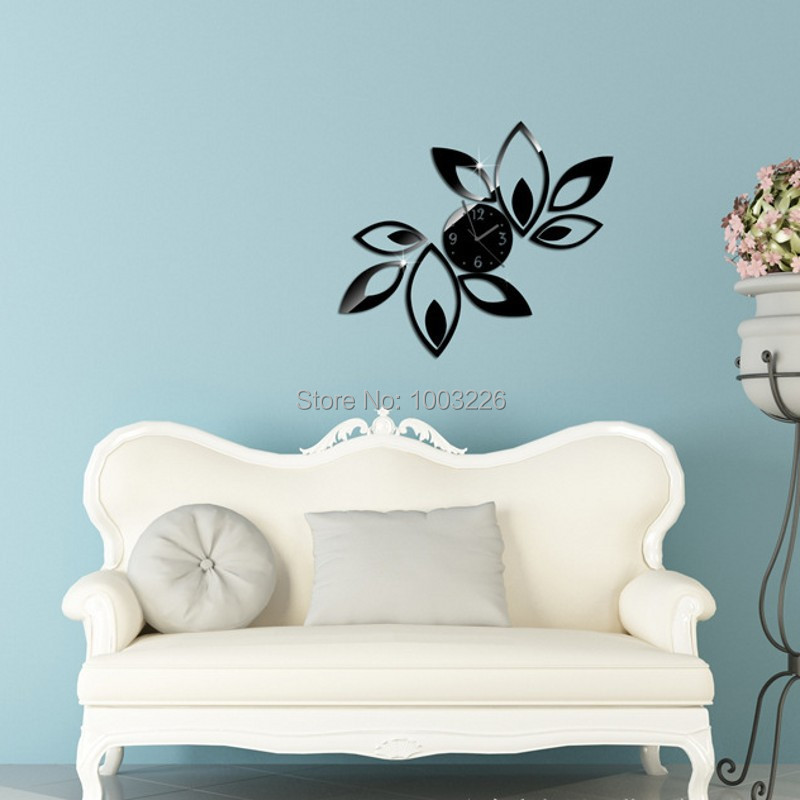 Simple flower type acrylic wall clock Home Decor Art Mirror Surface Wall Sticker acrylic 3d mirror wall stickers for kids room