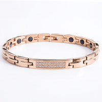 Classic Titanium Stainless Steel Jewelry Charm Bangles cubic zirconia rose gold color magnetic bracelets for women