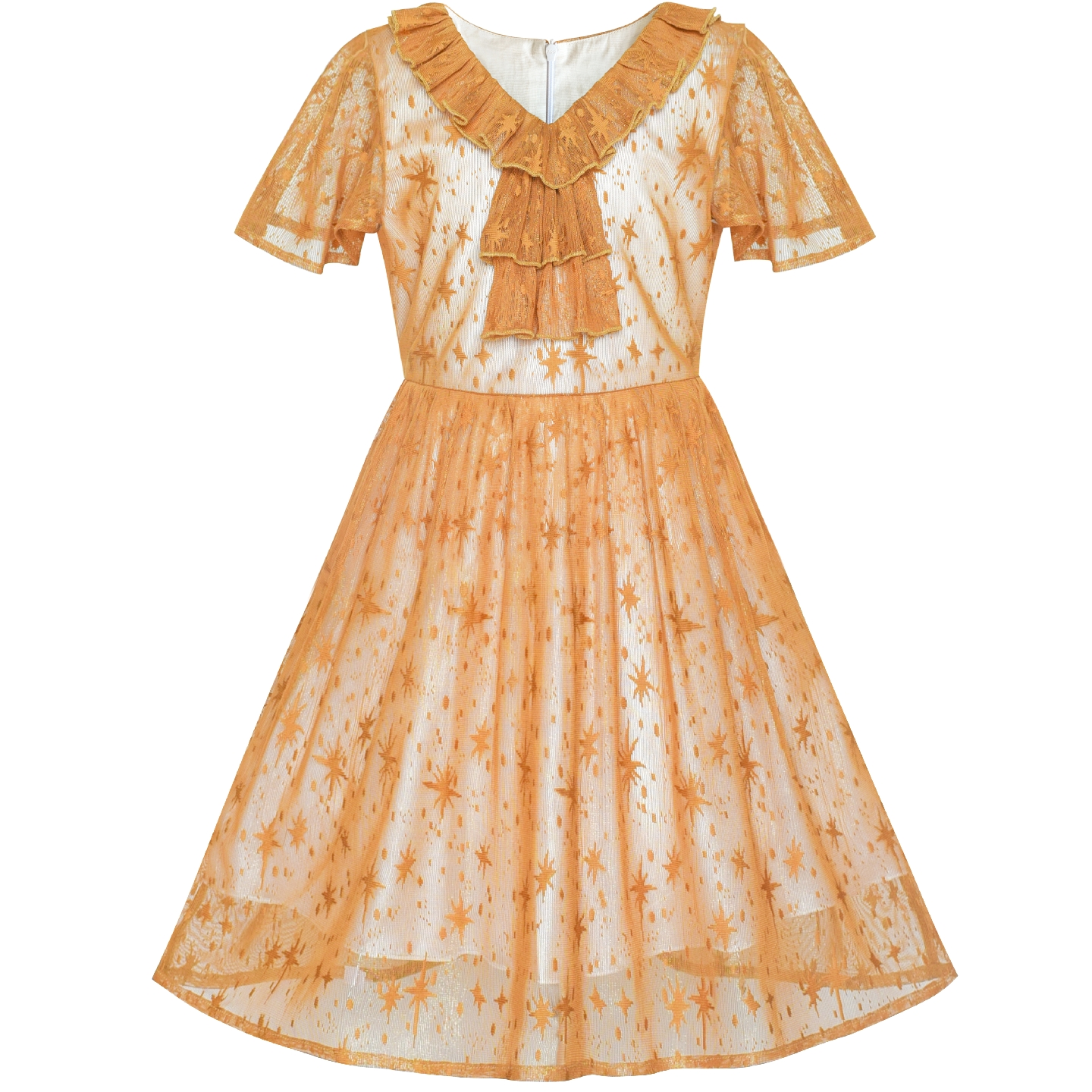 все цены на Flower Girl Dress Caramel Star Lace Short Sleeve Pleated Collar Dress 2019 Summer Princess Wedding Party Dresses Kids Clothes