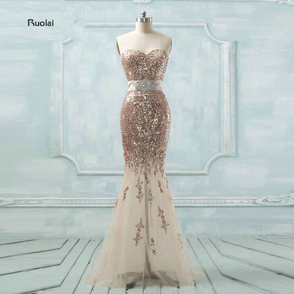 New Arrival Amazing 2016 Champagne Tulle Sweetheart Crystal See Through Skirt Formal Long Mermaid Evening Dresses Custom Made