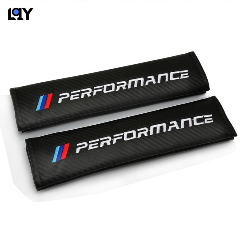 LQY 2PC automotive supplies carbon fiber shoulder belt belt cover for BMW M E36 E34 F10 E90 F30 F20 X3 E53 E70 g30 E30 E36