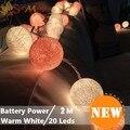 Pilas LLEVÓ 20 unids/set mixtas LED/Caliente Rosa/Crema Blanco Bola de Algodón Luces de Hadas