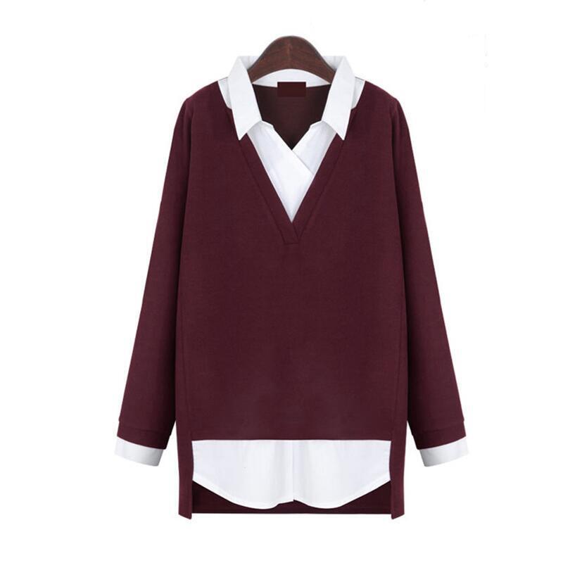 Mujer Piezas Xl Tejida Invierno Otoño Tops Casual 5xl Dos Loose Blosues Grande Mujeres Talla Gris Camisa Fake Blusas rojo Nuevo 2018 gdvgpq