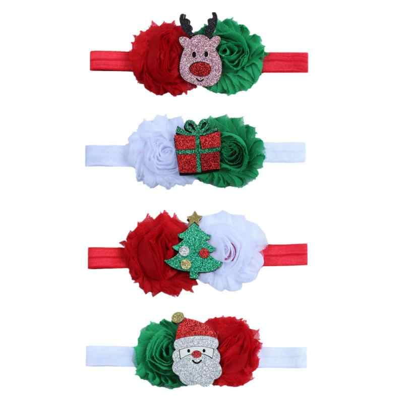 Bebé niños elástico Floral Navidad estiramiento diadema foto Prop regalo cinta para el pelo accesorios diadema Cintas de Pelo navideñas
