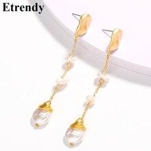 Delicate Baroque Pearl Earrings 2019 New Simple Long Women Trendy Jewelry