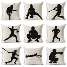 New Cushion Cover Black and white Pillow case Baseball Player Silhouette Decorative For Sofa Bedroom Home Throw