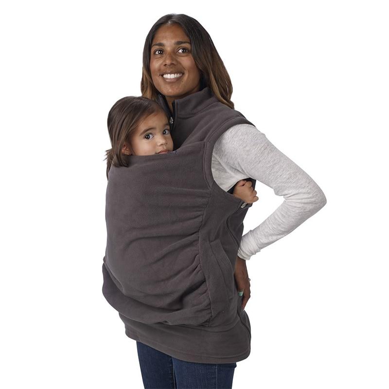 Maternity Kangaroo Pet Hoodie Pouch Winter Sleeveless Sweater Vest Baby Carrier Jacket Kangaroo Maternity Outerwear Coat S-XL