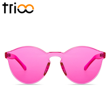 TRIOO Rimless Round Sunglasses Transparent Vintage One Piece Design Sun Glasses For Women Fashion Party Color Lens Female Shades
