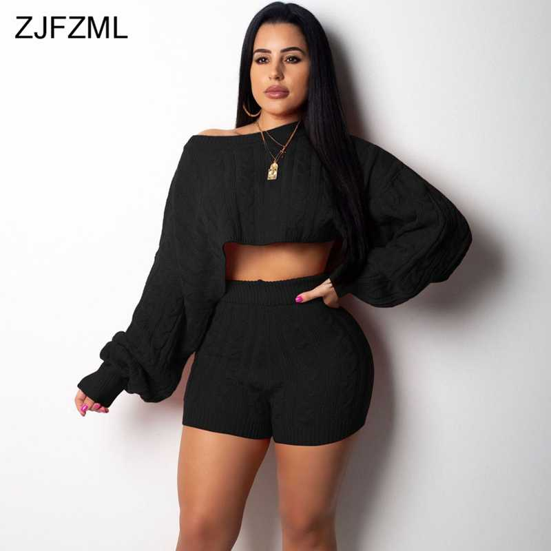 928879197f8 Autumn Winter 2 Two Piece Outfit For Women Long Sleeve Knitted Sweater Top  And Biker Shorts