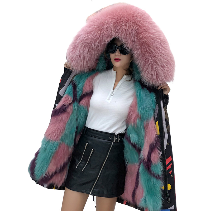 2018 new women winter real colorful strip fur inner with hooded long sleeve causal parkas pocket zipper loose jackets femme