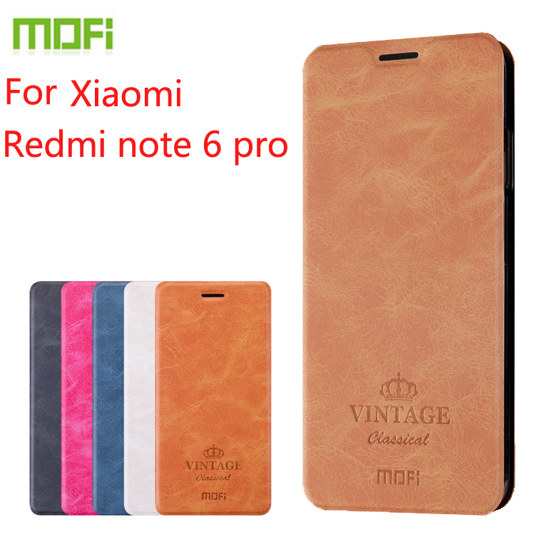For Xiaomi redmi note 6 pro Case Mofi Flip Leather Stand Cas