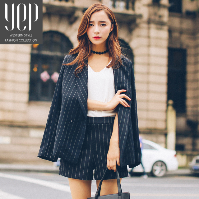 103ab35339 2016 autumn womens black and white vertical striped blazer and shorts set  womens business suits franja conjuntos femininos
