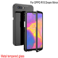 Luxury Magnetic Adsorption Case For OPPO R15 Dream Mirror Metal Frame Clear Tempered Glass Cover R15 Dream Mirror Magnetic Flip