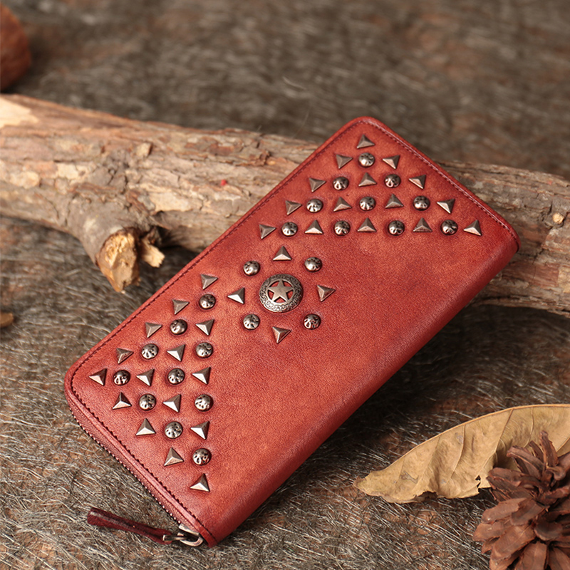 Genuine Leather Women's Wallet Retro Purse Multi Credit Card Holder Long Foldable Wallets Handmade Cow Skin Leather Lady Clutch