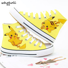 WHOHOLL Pokemon Pikachu Anime Cartoon Hand Painted Canvas Shoes High Top Casual Sneaker Minion Shoes Adults Minions Sneakers wen black sneakers hand painted anime shoes pokemon wartortle turtle design pocket monster high top skateboarding shoes
