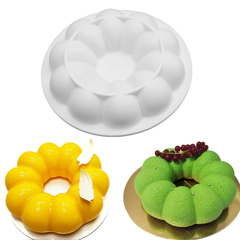 1pc სილიკონის ნამცხვრის ჩამოსხმა 3D 8 Petals Non-stick Fondant Cake Decorating ToolsFans Pans Paking Brownie Chiffon Sponge Cakes Pan
