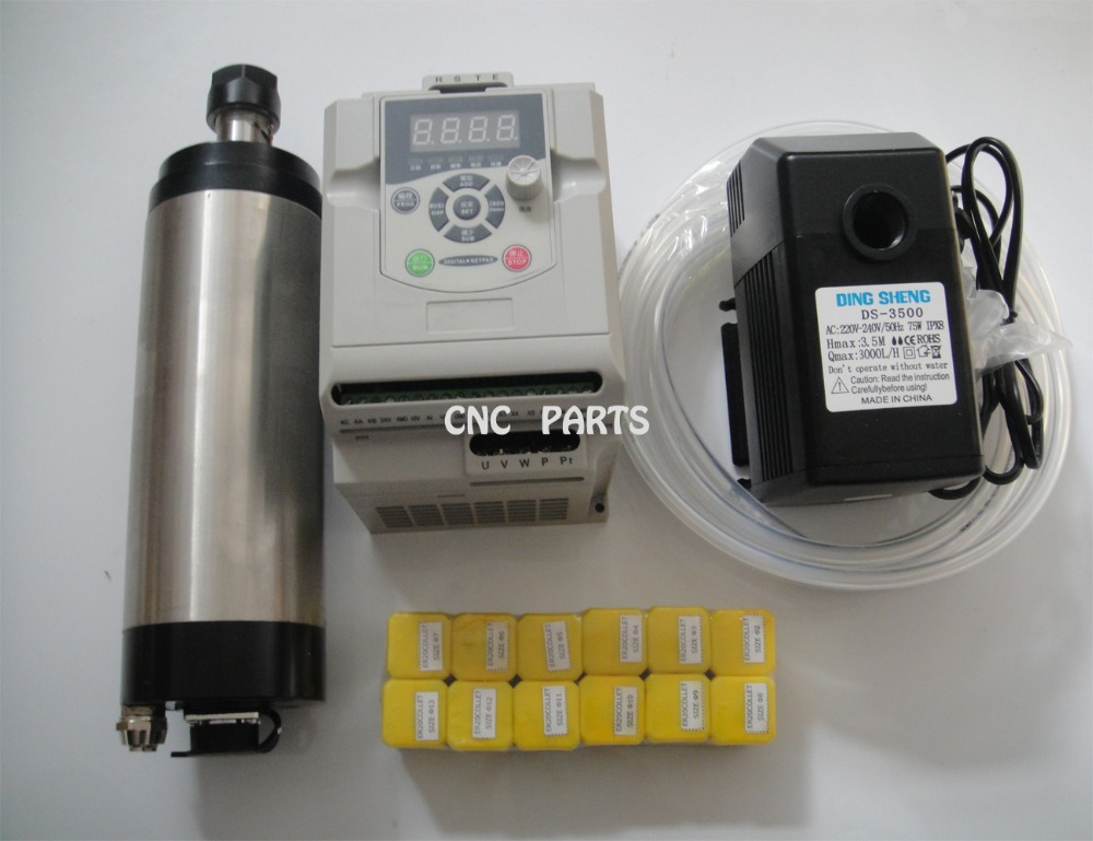 CNC spindle kit ER20 2.2KW water cooling spindle+1 piece 2.2KW inverter+12 pieces ER20 collets+1water pump +1water pipe 2 2kw water cooling spindle er20 1 piece matched spindle clamp