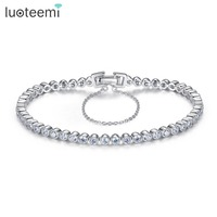 Teemi Brand New 925 Sterling Silver Charm Bracelet 3mm Round Cubic Zircon Bangles Women Wedding Jewelry