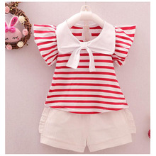 Summer Girl Clothes Striped T-shirt Shirt Shorts Two-piece Roupas Infantis Baby 1-4 Y Childrens Quality Clothing 2019 Hot Sale
