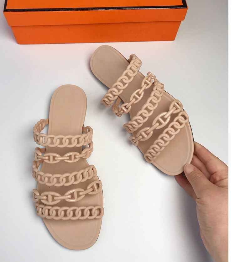 2019 European Five Chain Summer Sandals Outside Slip On Soft PVC Flat Slides Fashion Brand Beach Shoes Casual Summer Slipper