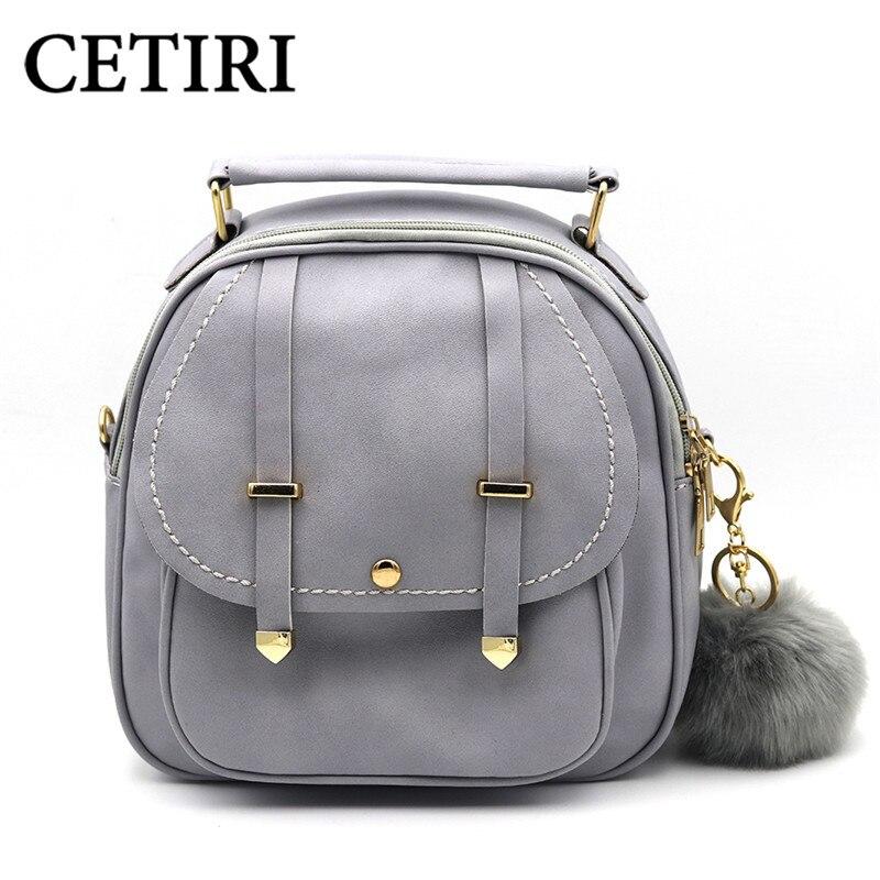 CETIRI Black Women Backpack Small Black PU Leather Women s Backpacks School Girls Bags Female Back