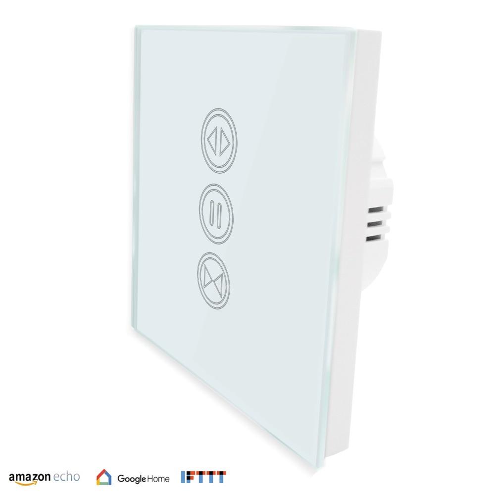 QCSMART EU WiFi Touch Switch for Curtain Blind Roller Shutter Tubular Motor Smart Life App Google Home Amazon Echo Voice Control
