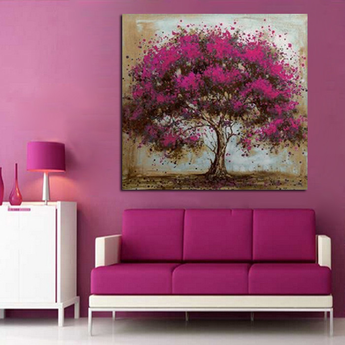 Purple Flower Oil Painting Abstract Wall Art Picture: Hand Made Oil Painting On Canvas Purple Flower Tree Oil