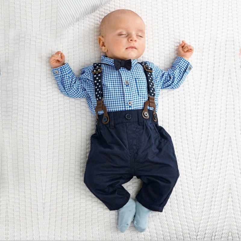 2018 Newborn Babys Sets Infant Boy Clothing Bow Tie Plaid T-Shirt+trousers Toddler Long Sleeve Pullover Costumes Sling Suit set