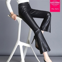 Plus size S 5XL PU great quality Leather pants Wide Leg pants female 2018 new elastic high waist sexy ankle lenther pants L232