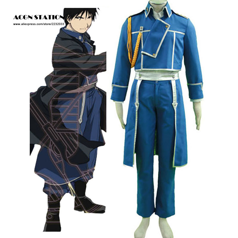 2018 Customize for adults and kids  Free Shipping New Blue Fullmetal Alchemist Maes Hughes Military Cosplay Brand Costumes